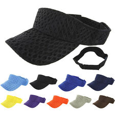 Visor Sun Plain Hat Sports Mesh Cap Colors Golf Tennis New Adjustable Men Women