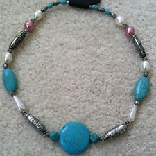 """New Vintage Natural Turquoise Necklace With Imitate Pearl Beads 12 Designs 18"""""""
