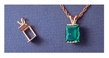 Solid 14kt White or Yellow Gold Plate Style Emerald Pendant Setting (8-16mm)