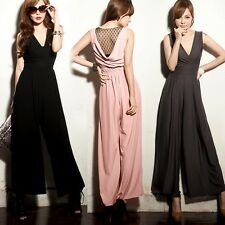Wrapped V-neck Mesh Patchwork Womens Wide-leg Jumpsuit Romper Trousers Pants New