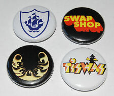 RETRO KIDS TV BUTTON BADGE SET 25MM/1 INCH 70s TISWAS MAGPIE BLUE PETER