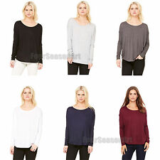 Bella Ladies Flowy Long Sleeve T Shirt With 2x1 Rib Sleeves S M L XL 2XL 8852