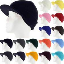 Plain Visor Beanie Knit Ski Cap Skull Hat Warm Solid Color Winter Cuff New Beany
