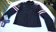 NEW LADIES / GIRLS BLACK LINED CORDURA®  MOTORCYCLE RIDING JACKET PINK ARM BARS