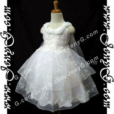 #SP01 Flower Girls/Christening/Formal/Holiday Gowns Dresses, White 0-4 Years