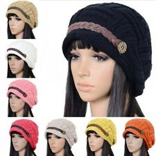 Women Warm Rageared Baggy Winter Warmer Hat Beanie Braided Knit Crochet Ski Cap