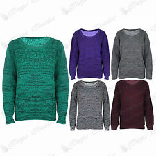 Womens Ladies Marl Effect Baggy Long Sleeve Knitted Sweater Oversized Jumper Top