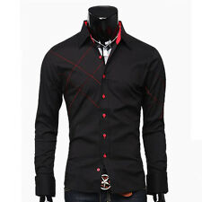 Fashion Mens Casual Formal Business Dress Long Sleeve Shirts Tops IN Black White