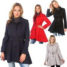 Womens Ladies Single Breasted Belted Short Army Mac Rain Trench Coat Jacket AU