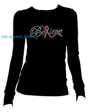 Rhinestone Breast Cancer BELIEVE PINK RIBBON JR. Round Neck Long Sleeve T Shirt