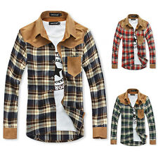 Mens Slim Fit Casual Shirts Tops Boys Long Sleeve Checked Button Dress Shirts