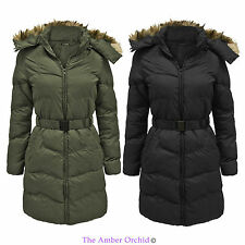 NEW LADIES WOMENS WARM WINTER PUFFER QUILTED ZIP PADDED BELTED PARKA JACKET COAT