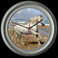 WHITE HORSE WALL CLOCK, BLACK / SILVER, CHRISTMAS GIFT, EQUINE, EQUESTRIAN