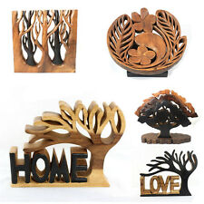 Hand Carved Large Acacia Wood Wooden Sculpture Elephant Owl Flower Tree of Life