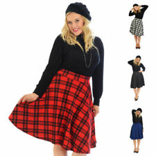 Ladies Tartan Skater Skirt Scottish Check Midi Skirt Nouvelle Womens Plus Size