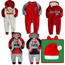◆Free X-mas Hat◆NWT VaenaitBaby Girl Boy Outwear Onepiece Jumpsuit Fleece Outfit