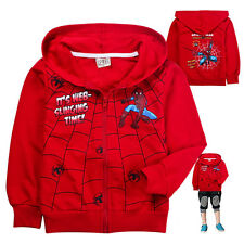 Kids Boys Girls Zip Hoodies Tops Spiderman Coats Outfits Jackets Size 2-8 Years