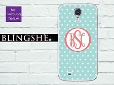 Monogram Samsung Galaxy note 3 case teal polka dots for S3 S4 S5 N2 N3 pd101cn
