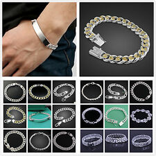 Wholesale New Men Solid Silver Bangle 925Silver Bracelet 18K Gold Silver Chain
