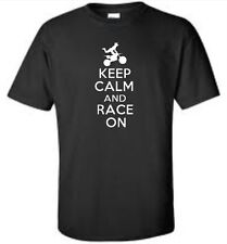 Keep Calm And Race On Child T-Shirt Funny Motocross Youth Tee