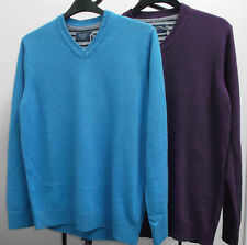 Men's Atlantic Bay Blue and Purple V Neck Jumper  - Sizes Small, Medium & Large