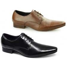 Gucinari Mens Leather Lace-Up Pointed Toe Office Wedding Smart Shoes Black/Tan