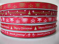 Christmas Grosgrain Ribbon - 5Yards  x 10mm -Snowflake/Merry Christmas/Xmas Tree
