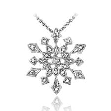 925 Silver Diamond Accent Snowflake Necklace - 3 Colors