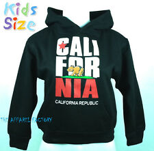 New KIDS CALIFORNIA REPUBLIC Black Hoodie XS-XL Sweatshirt Sweater Cali Life