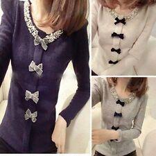 KDQ25 Women Beaded Crew Neck Puff Bow Sweater Knit Tops WF-4120