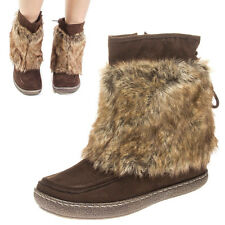 Brown Faux Furry Fur Snow Winter Pom Pom Tie Mukluk Ankle Flat Boot US 5-10