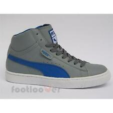 Juniors Puma Mid Jr 357204 02 boys grey leather basketball casual shoes sneakers