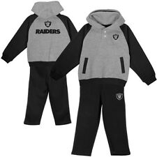 Oakland Raiders Infant and Toddler Go Team Hoodie & Pant Fleece Set - Ash/Black