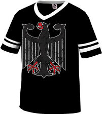 Giant Distressed German Black Eagle Soccer Olympics Mens V-Neck Ringer T-Shirt