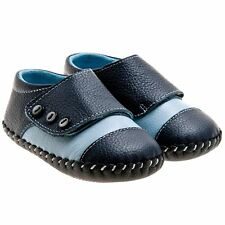 Boys Girls Childrens Kids Toddler REAL Leather & Suede Soft Sole Shoes - Blue