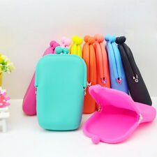 Rubber Silicone Pouch Purse Wallet Glasses Cell phone Cosmetic Coin Bag Case