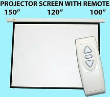 New Electric Motorized Projector Projection Screen w/ Remote Matt White -Choose