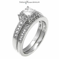 princess cut CZ 2pc engagement bridal sterling silver ring set size 5 6 7 8 9