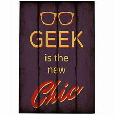Vintage Retro Wooden Plaque Home Wall Office Hanging Decor Geek is the new Chic