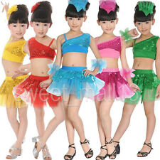 Kids Girls Latin Salsa Tango Sequin Party Dance Dress Skirts Sets Outfits 4-9 Y