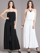 NEW WOMAN SEXY STRAPLESS JUMPSUIT  Tube Loose Fitting Sexy Full Wide Leg S  M L