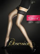 Fiore Edith 8 Denier Stockings Thigh High Hold Up Nylons Lace Top FREE SHIP