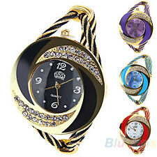 Womens Fashion Round Crystal Bangle Cuff Analog Quartz Bracelet Wrist Watch B27U