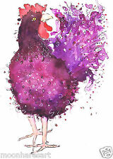 A4 FANCY FRIZZLE CHICKEN HEN POULTRY PRINTS BY MOON HARES ART PAINTINGS & PRINTS