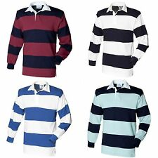 (Free PnP) Front Row Sewn Stripe Long Sleeve Sports Rugby Polo Shirt Szs S-2XL