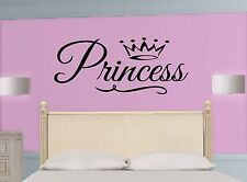 PRINCESS * Crown ~ Girl WALL DECAL Quote * Vinyl Lettering STICKER ~ ANY COLOR