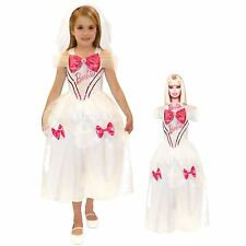 New Girls Barbie Bride Costume Princess Fairy with Free Doll Dress