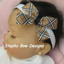 "3"" PLAID TARTAN TAN RED BLACK WT DAINTY HAIR BOW SOFT STRETCHY HEADBAND So CUTE"