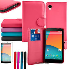 Deluxe PU Leather Wallet Flip Card Holder Stand Case Cover for LG Google Nexus 5