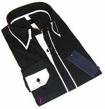 Brand New Mens Formal, Smart, Black with White Double Collar Slim Fit Shirt